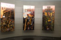 Banners for each of ES's games proudly decorate their lobby.