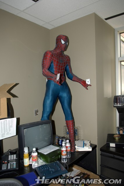 We found a full-sized Spiderman mannequin inside Karen and Jerome's office ... could this be a uber-cheat-mode-unit?