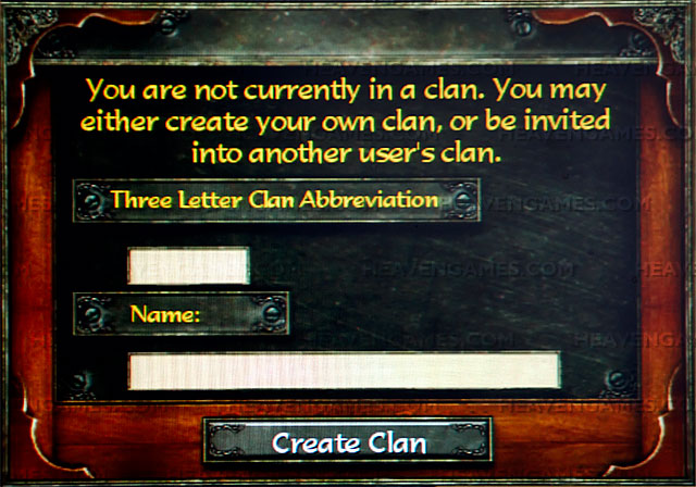 The dialog you see when creating a clan