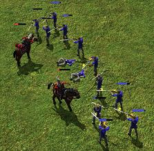 Cuirassiers take on a group of skirmishers in stagger mode